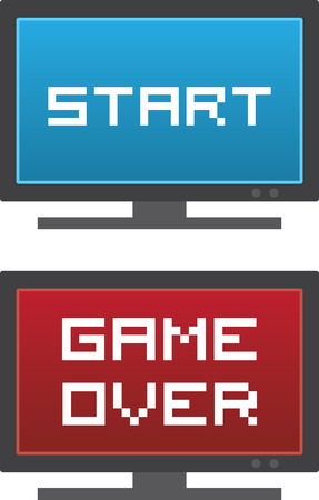 playing video game: Isolated TV with Start or Game Over on the screen