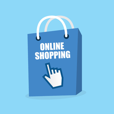 Blue bag that says online shopping