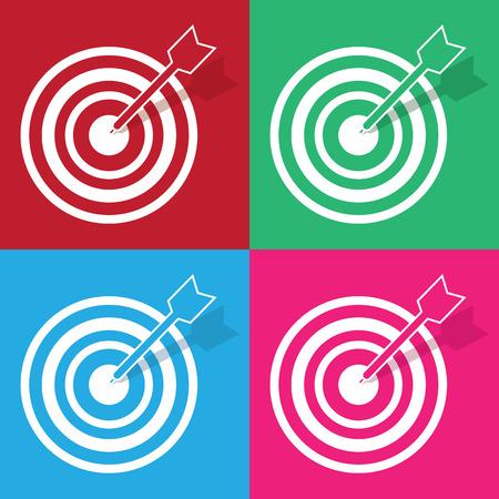 Bullseye and arrow in various colors Иллюстрация