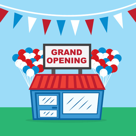 general store: Store with grand opening sign and balloons