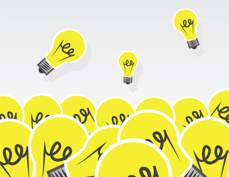 solve a problem: Large pile of light bulbs Illustration