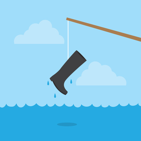 fishing pole: Fishing pole with boot above water Illustration