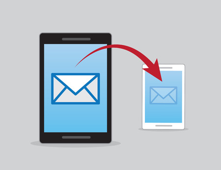 Phones sending email with red arrow