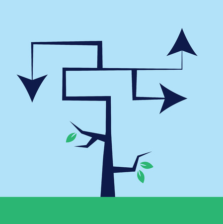 choose a path: Tree with arrows as branches pointing in different directions Illustration