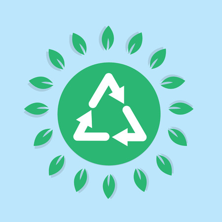 surrounding: Recycle symbol with surrounding leaves
