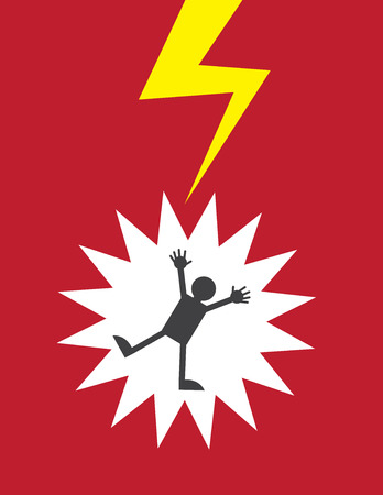 electrocuted: Figure electrocuted by lightning or shock Illustration
