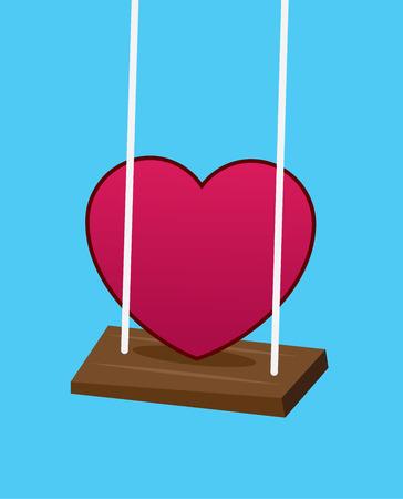 Heart swinging on a swing Illustration