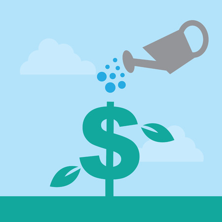water can: Dollar sign watered by watering can