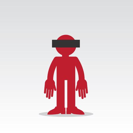 Silhouet anonieme figuur met gecensureerd ogen Stock Illustratie