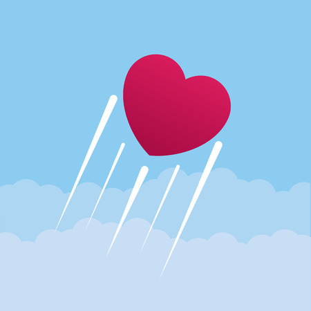 Heart flying through the clouds and sky