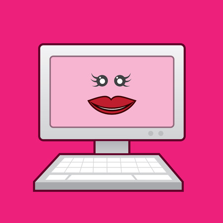 Computer with woman�s face pink background