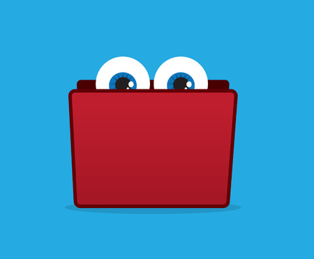 Folder with eyes peeking from the top