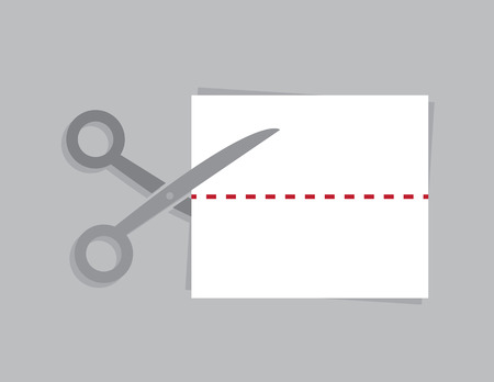 snip: Scissors cutting a piece of paper at a dotted line Illustration