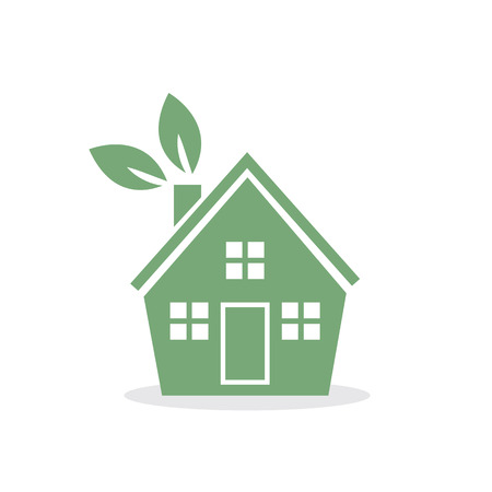 Green house with leaves on chimney