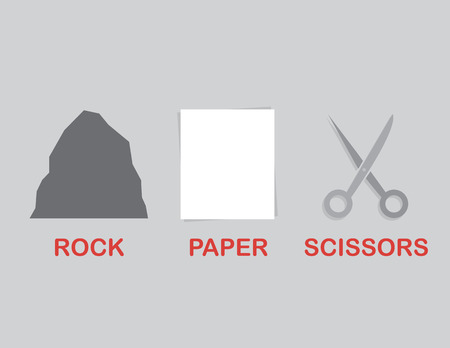 Rock paper scissors separated with text Ilustração