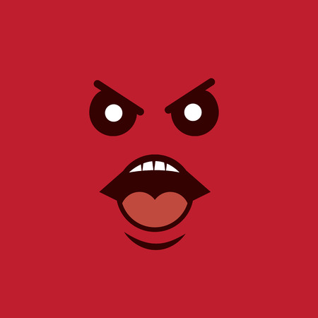 human face: Angry face yelling with red background