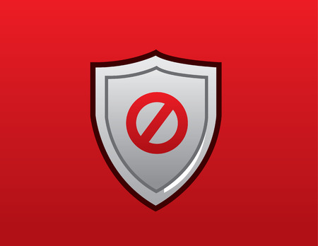 reject: Shield with red do not enter sign Illustration