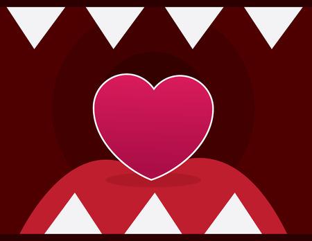 Heart inside mouth with sharp teeth Иллюстрация