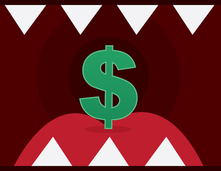 éles: Dollar sign inside mouth with sharp teeth