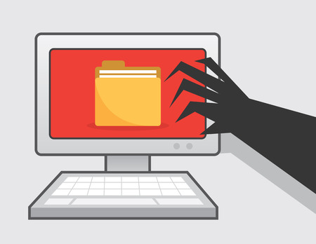 clawed: Clawed hand reaching for computer with folder icon Illustration