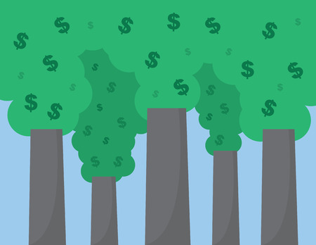 spending: Dollar signs floating out of smoke stacks Illustration