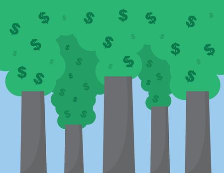 burning money: Dollar signs floating out of smoke stacks Illustration