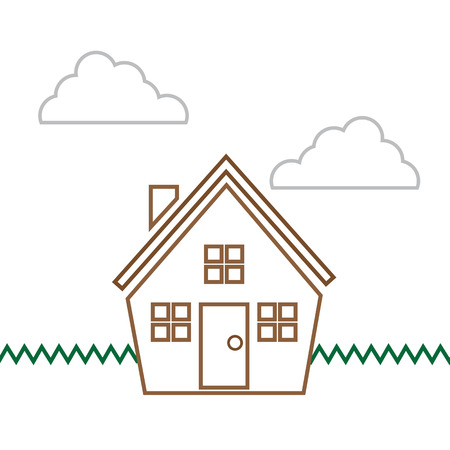 House scene with clouds in outline