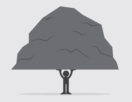 heavy: Silhouetted figure lifting a large heavy rock