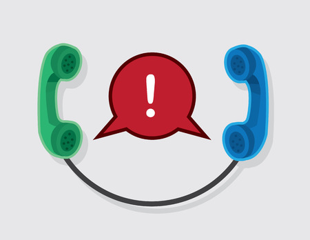 Two phones connected with exclamation speech bubble Vector