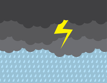 Dark stormy clouds raining with lightning strike Illustration