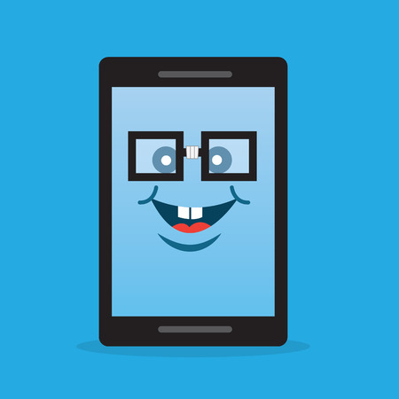 geeky: Phone character with nerdy glasses