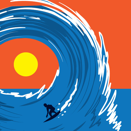 exciting: Figure surfing on a large wave Illustration