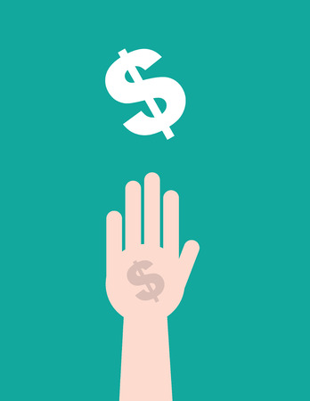 Hand reaching for dollar sign with shadow