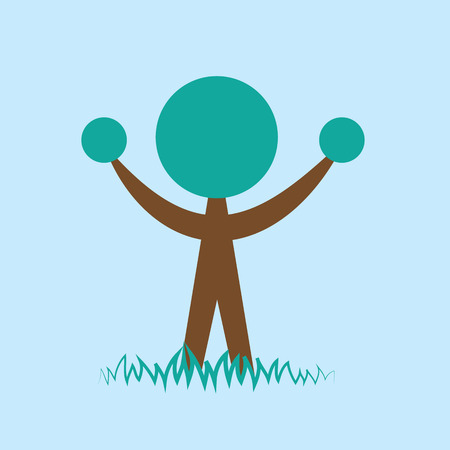 plant stand: Stylized person shaped tree blue background Illustration