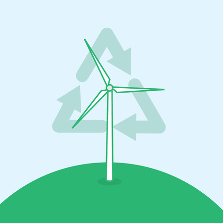 hill top: Wind turbine on the top of a hill with recycle symbol