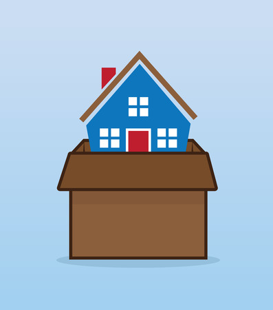 House inside moving cardboard box Vector