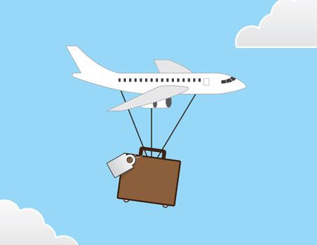 Plane delivering luggage through the sky Ilustração
