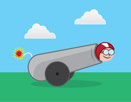 dangerous man: Human cannonball about to be shot