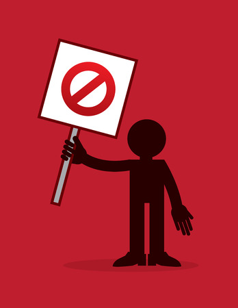 Figure holding crossed out sign with red background