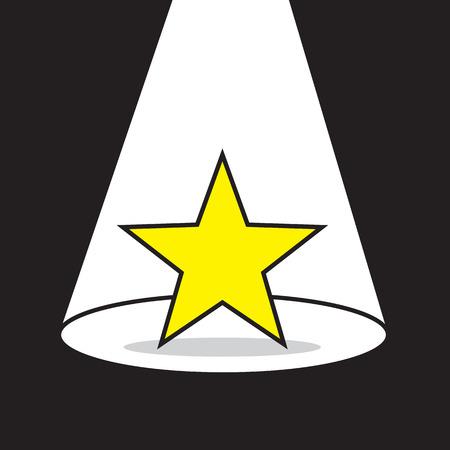 encore: Yellow star with bright spotlight Illustration
