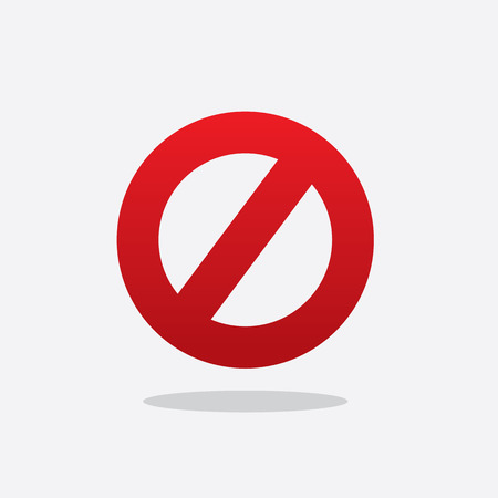 floating: Floating red cross out do not sign Illustration