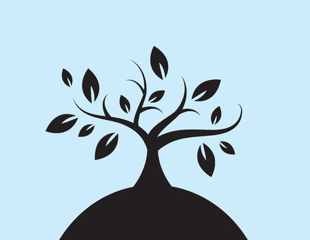 Tree silhouette with leaves on a hill Illustration
