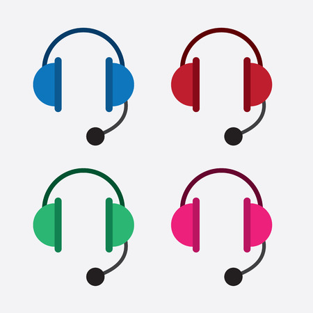 Isolated headsets in various colors