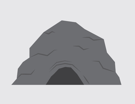 Isolated stone cave with gray background Vector