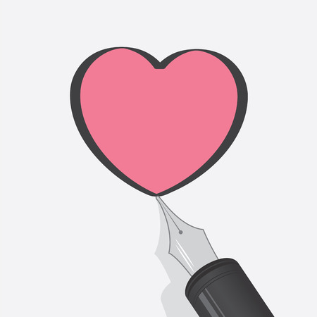 Fountain pen drawing outline of pink heart Vector