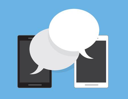 alternating: Phone with alternating speech bubbles Illustration