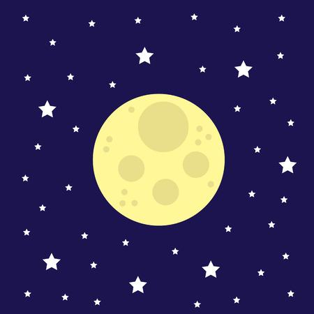 Maan aan de hemel, omringd door sterren