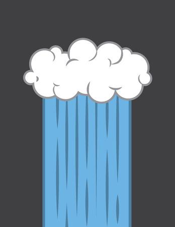 Single cloud downpour stream of rain Vector