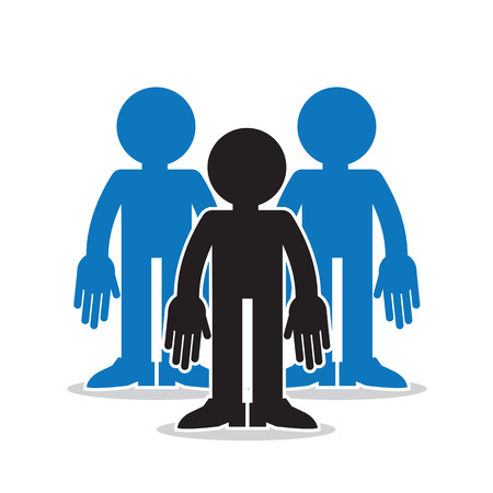 teamwork cartoon: Three figures in a group with one standout in black silhouette
