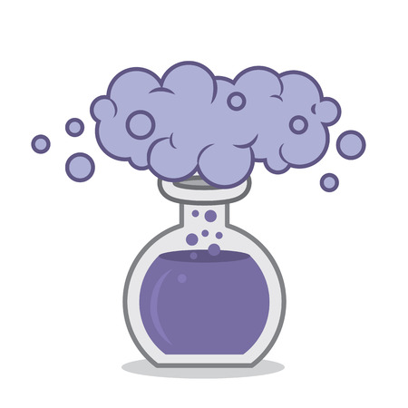 reaction: Chemistry beaker with purple smoke reaction